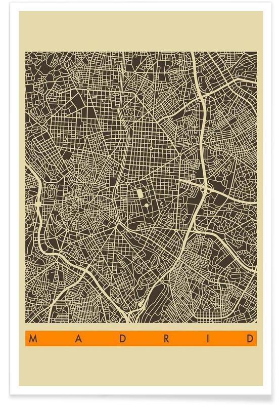 Cartes de villes, Madrid, Madrid II affiche