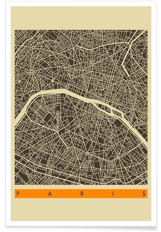 Cartes de villes, Paris, Paris II affiche
