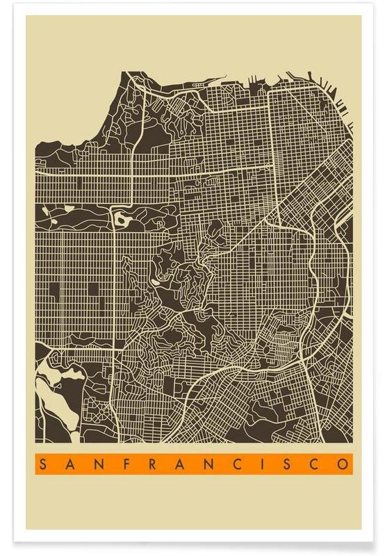 Cartes de villes, San Francisco, San Francisco II affiche