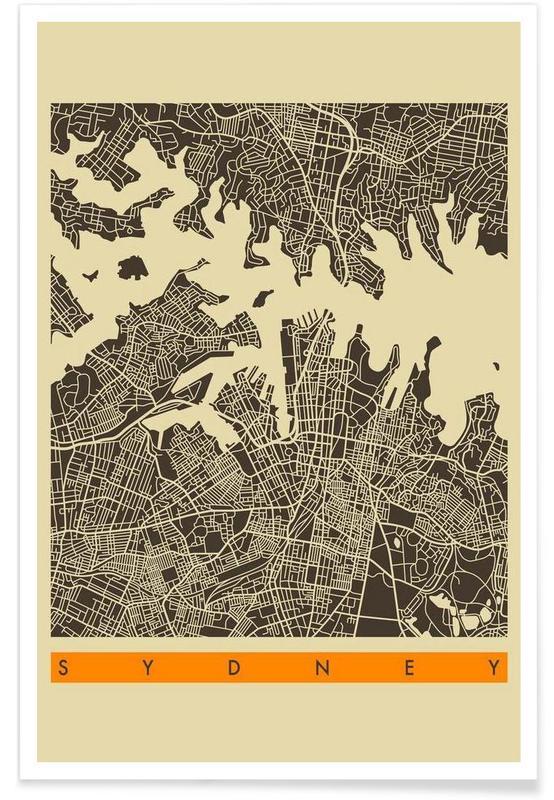 Cartes de villes, Sydney II affiche