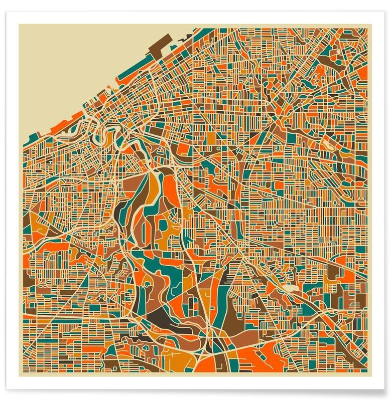 Cleveland - Carte colorée affiche