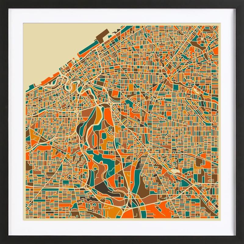 Cleveland -Bild mit Holzrahmen