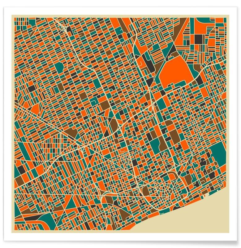 Cartes de villes, Detroit - Carte colorée affiche