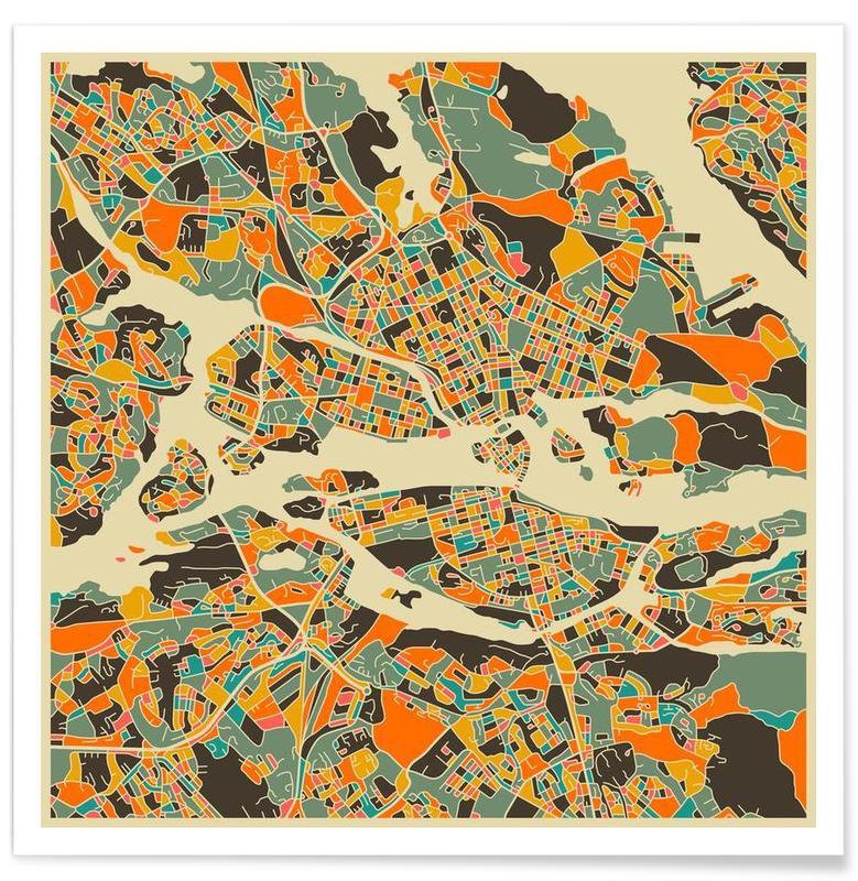 Stockholm - Carte colorée sépia affiche