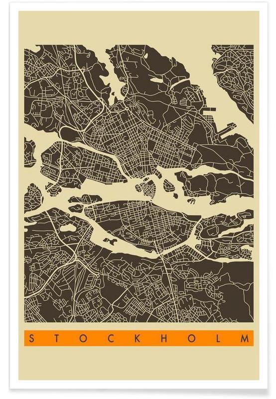 Stadtpläne, Stockholm, Stockholm Map Series 3 -Poster