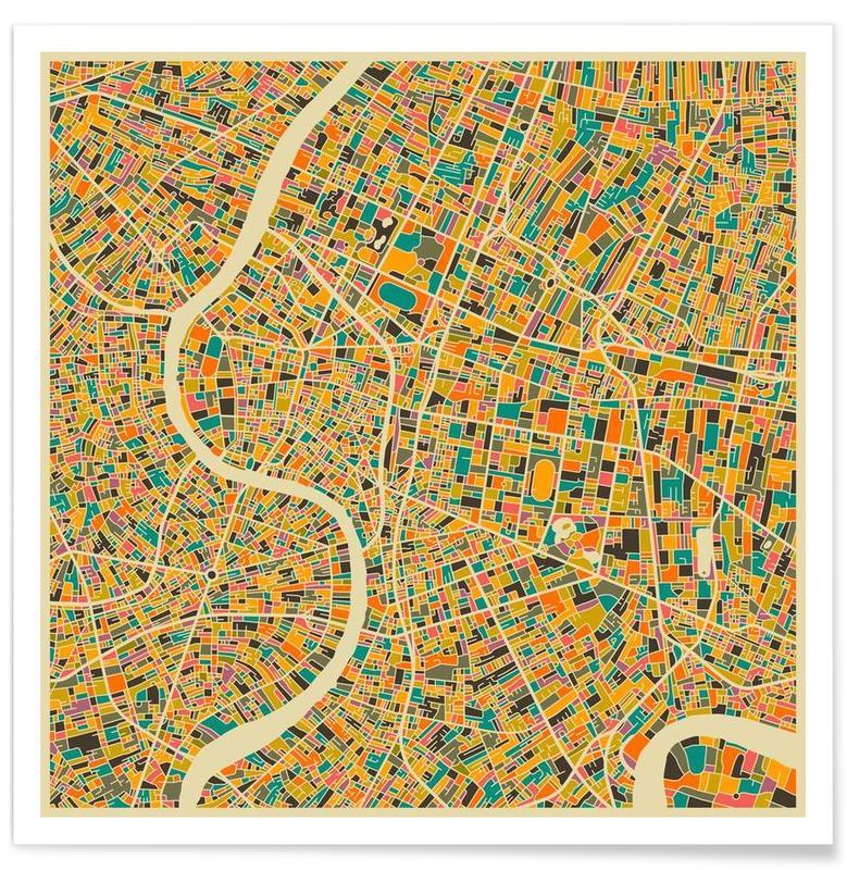 Stadskaarten, Bangkok - kleurrijke kaart poster