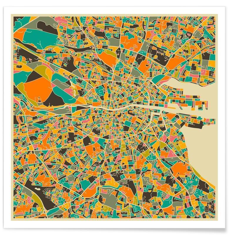 Dublin - Carte colorée grise affiche