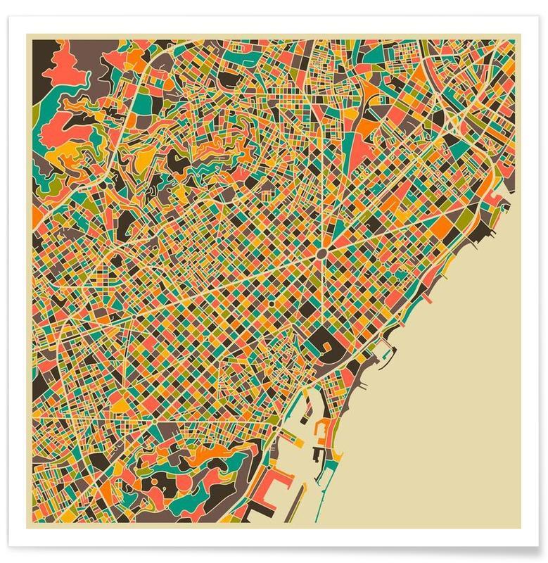 Cartes de villes, Barcelone, Barcelone - Carte colorée affiche