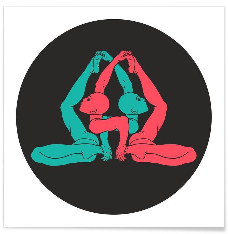 Yoga, Patanjali Yoga Gherandasana affiche