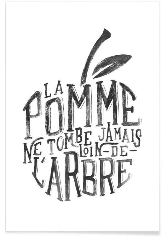 Schwarz & Weiß, Zitate & Slogans, La pomme et l'arbre -Poster