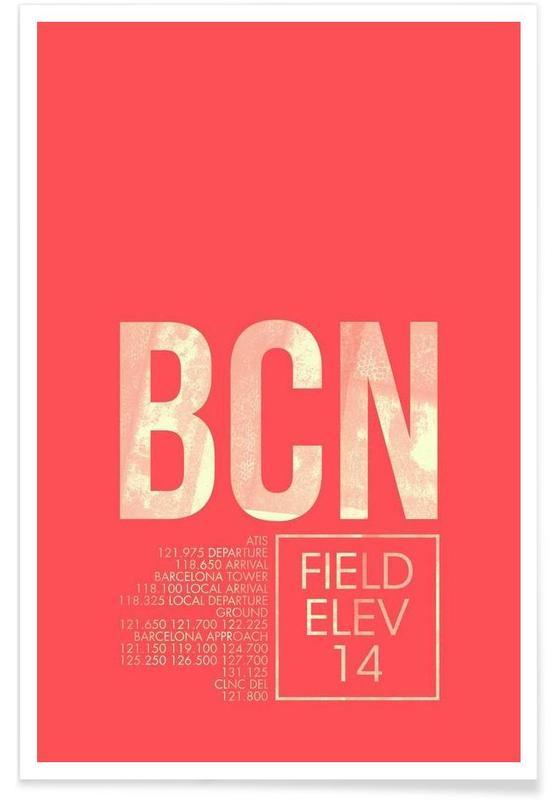 Voyages, Barcelone, BCN Barcelona - Etiquette à bagages affiche