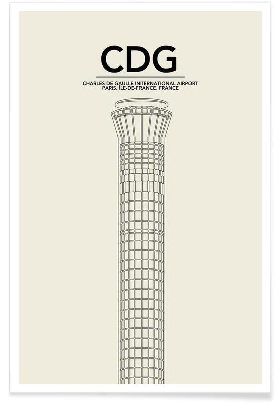 Paris, CDG Paris Tower affiche