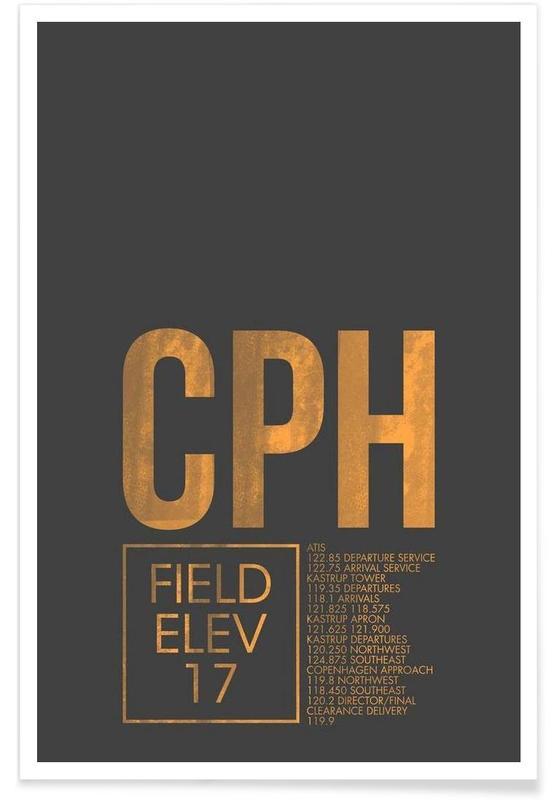 Copenhagen, Travel, CPH Copenhagen Luggage Tag Poster