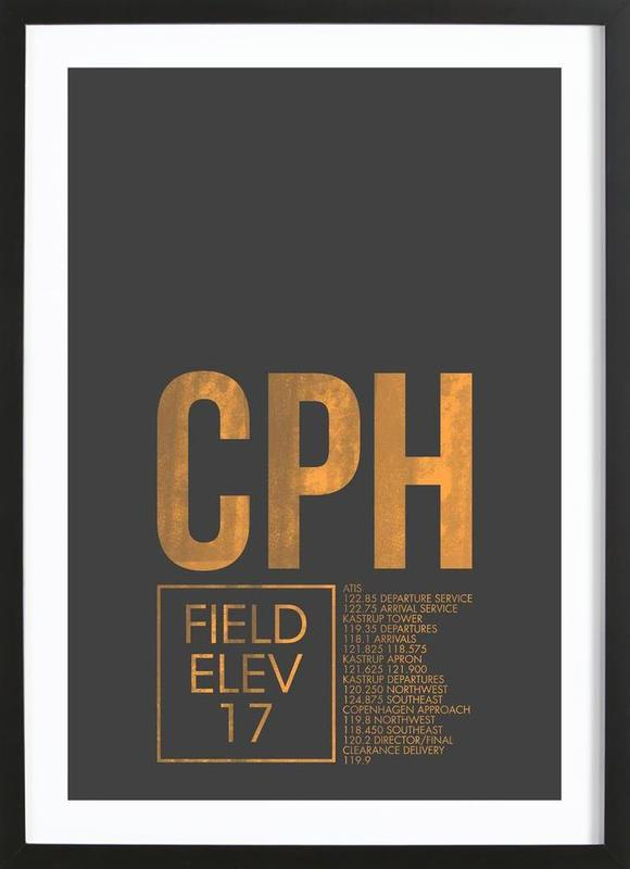CPH Copenhagen -Bild mit Holzrahmen