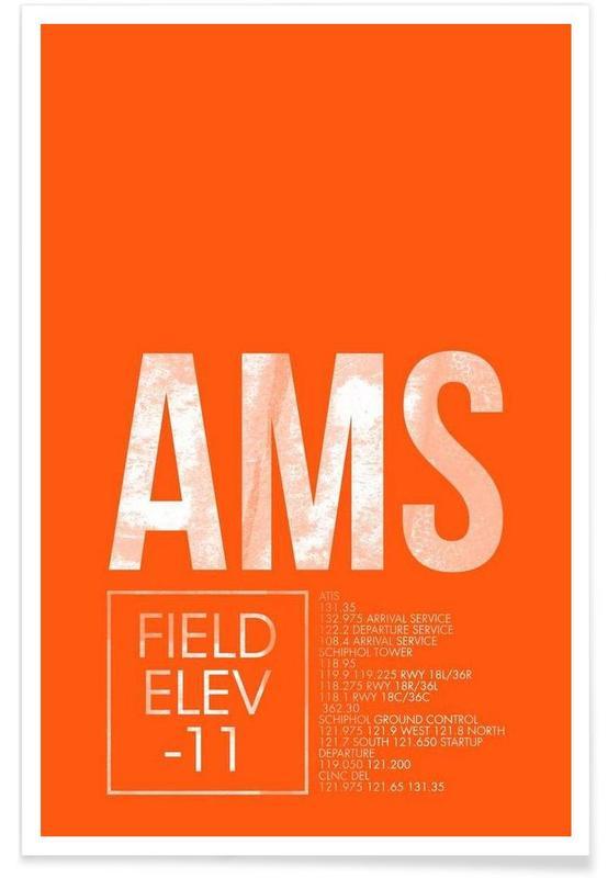 Amsterdam, Voyages, AMS Amsterdam - Etiquette à bagages affiche