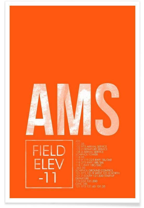Amsterdam, Reise, AMS Amsterdam-Gepäckanhänger -Poster