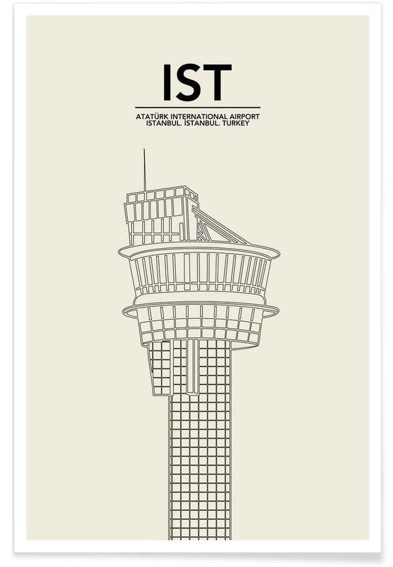 Istanbul, Black & White, IST Istanbul Tower Poster