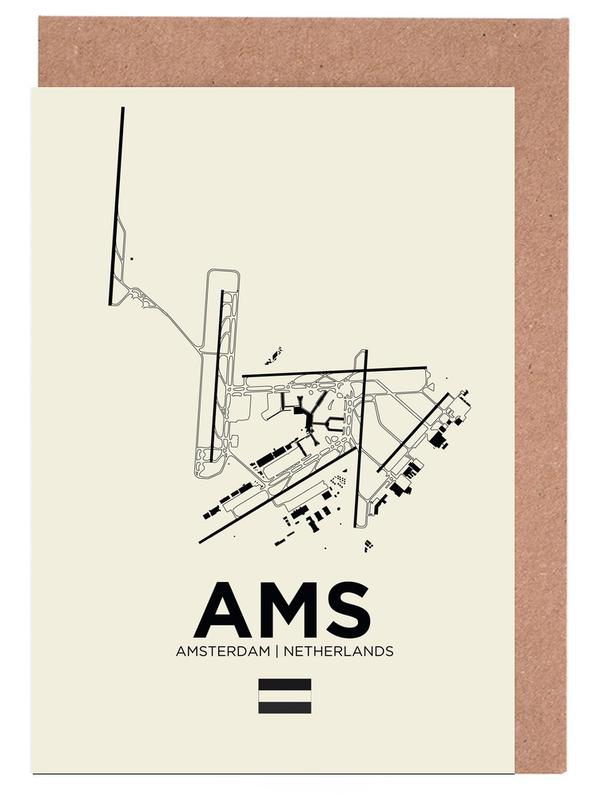 AMS Airport Amsterdam Greeting Card Set
