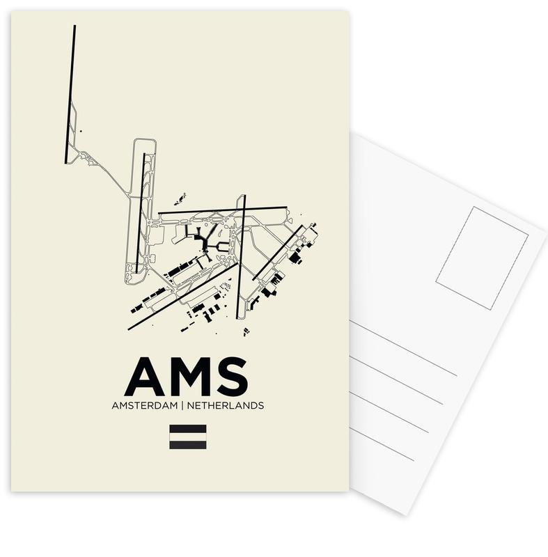 AMS Airport Amsterdam -Postkartenset