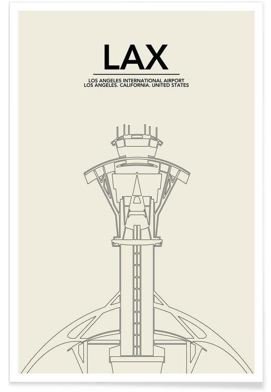 Monuments et vues, Noir & blanc, Los Angeles, LAX Los Angeles Tower affiche
