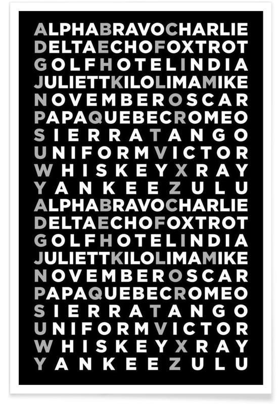 Whisky, Alphabet et lettres, Noir & blanc, Alpha affiche