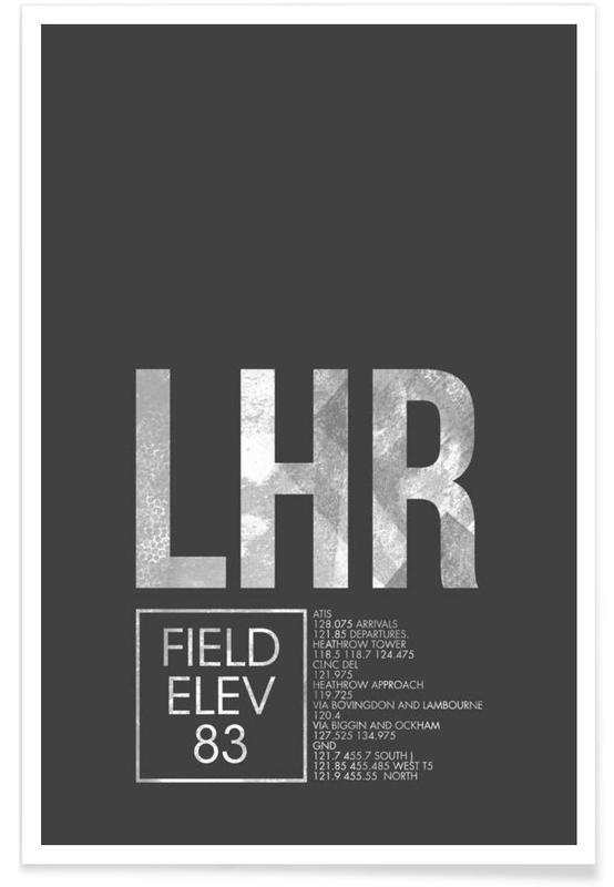 Londres, Voyages, LHR London - Etiquette à bagages affiche