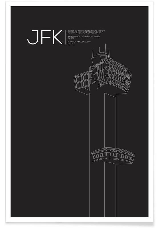 Schwarz & Weiß, New York, Sehenswürdigkeiten & Wahrzeichen, JFK New York Tower Black -Poster