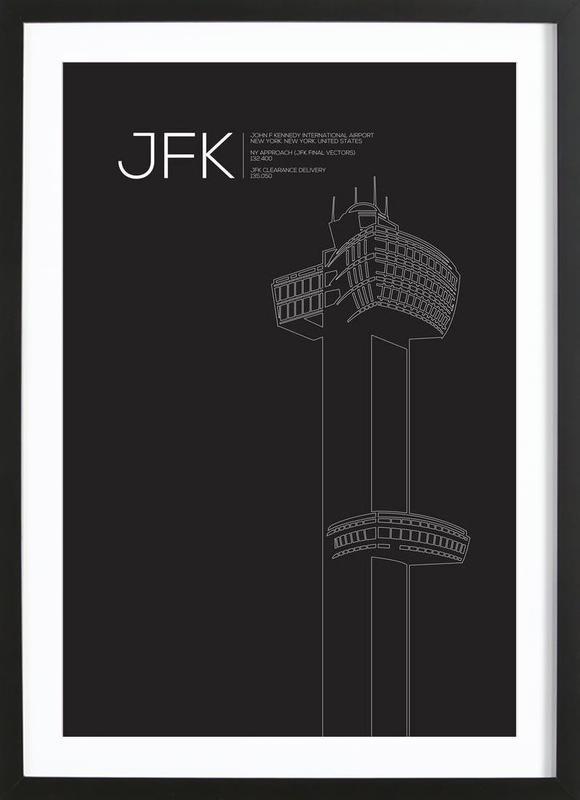 JFK New York Tower Black affiche sous cadre en bois