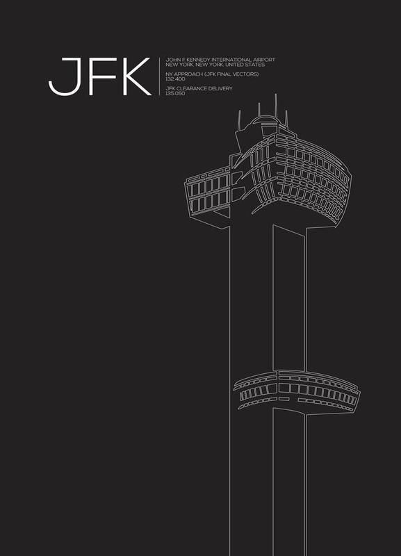 JFK New York Tower Black toile