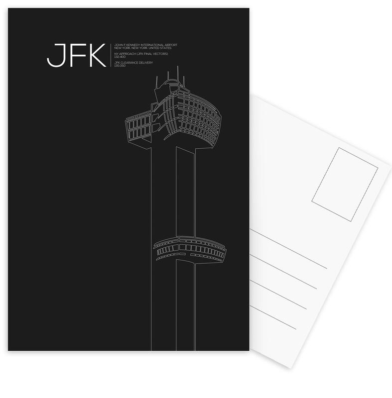 JFK New York Tower Black Postcard Set