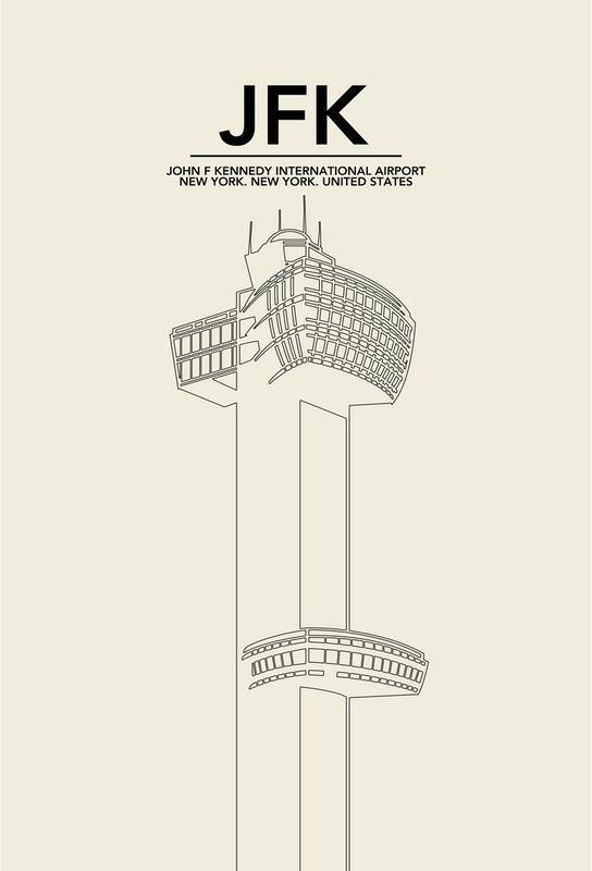 JFK New York Tower Impression sur alu-Dibond