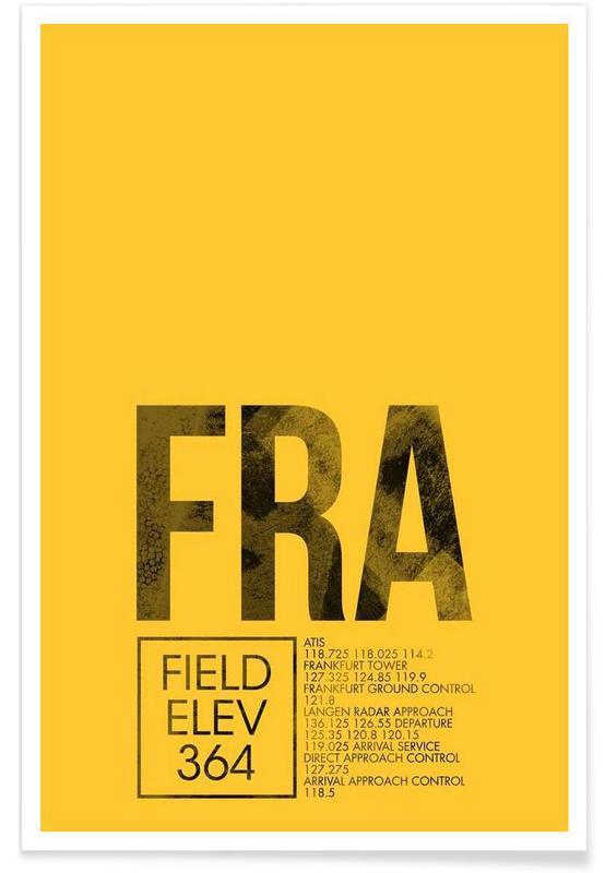 Francfort, Voyages, FRA Frankfurt - Etiquette à bagages affiche