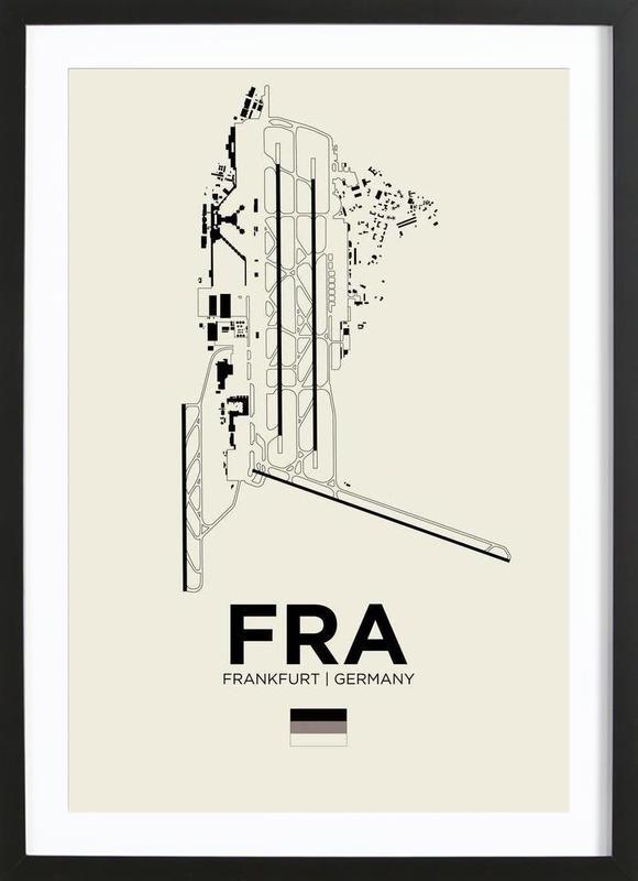 FRA Airport Frankfurt -Bild mit Holzrahmen