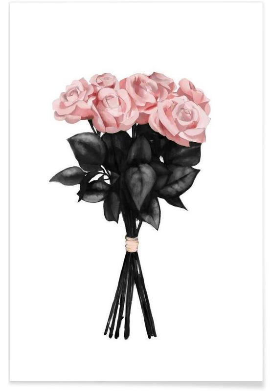 Roses, Illustration d'un bouquet rose affiche