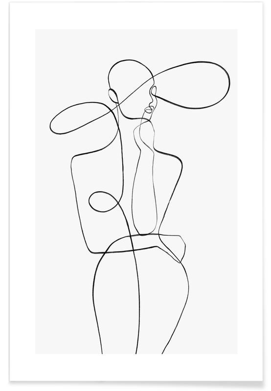 Sort & hvidt, Krops nærbilleder, Monday Plakat