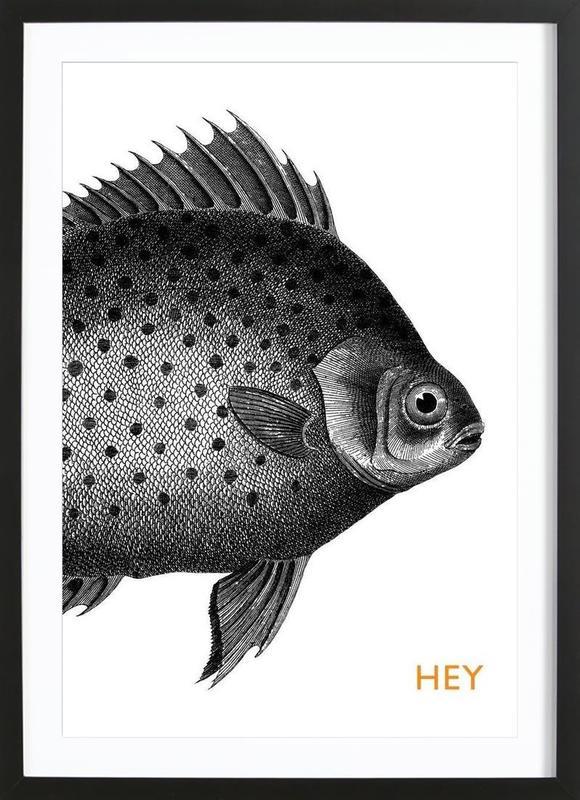 Hey Fish -Bild mit Holzrahmen
