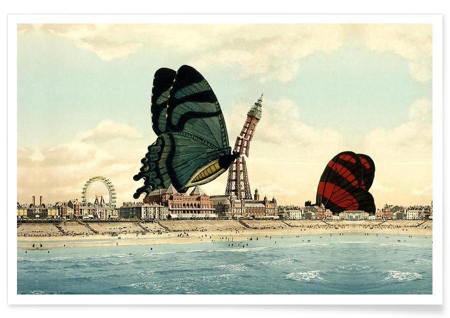 Butterflies, Retro, Blackpool Poster