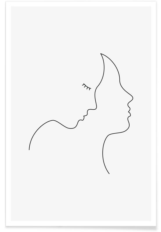 Noir & blanc, Couples, Hair affiche