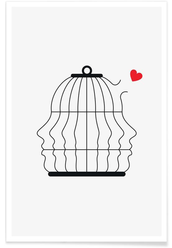 Noir & blanc, Saint-Valentin, Free Love affiche