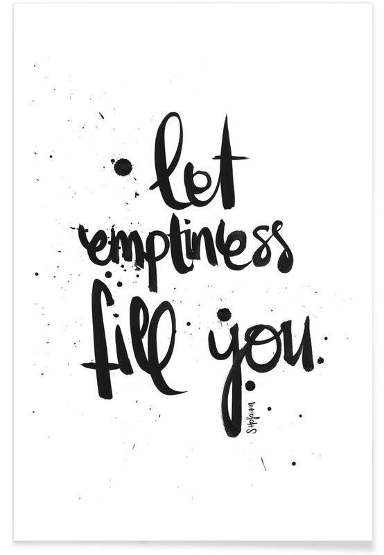Schwarz & Weiß, Zitate & Slogans, Emptiness -Poster