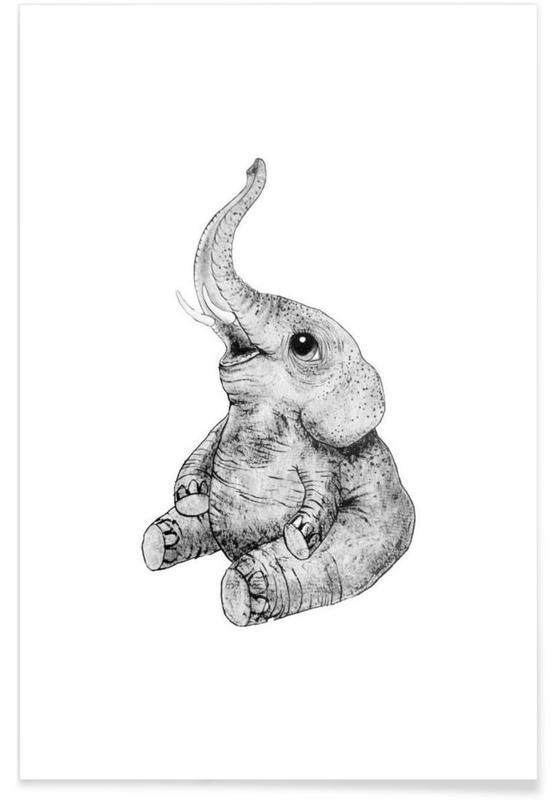 Art pour enfants, Noir & blanc, Éléphants, Illustration de bébé éléphant affiche