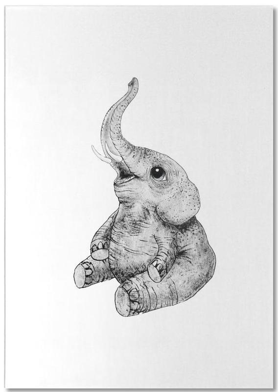 Éléphants, Noir & blanc, Art pour enfants, Elephant bloc-notes