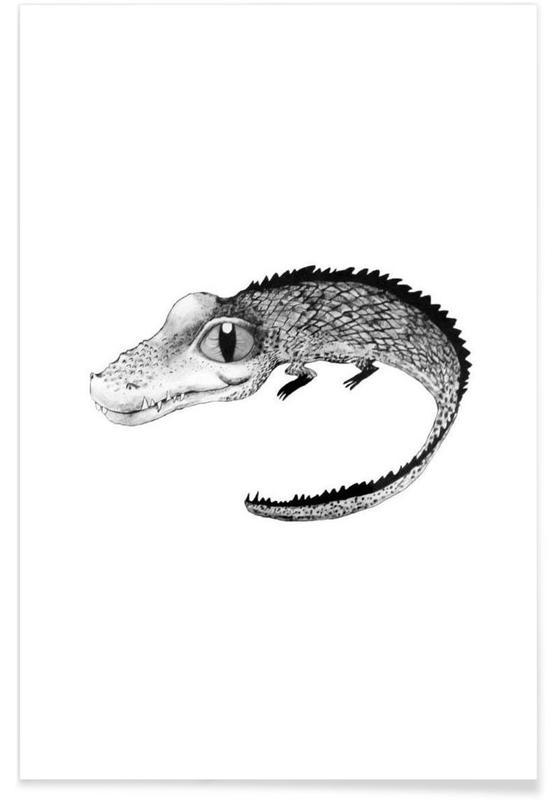 Noir & blanc, Art pour enfants, Illustration de bébé crocodile affiche