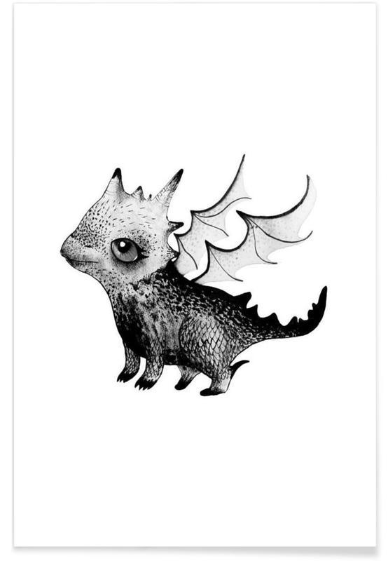 , Illustration de bébé dragon affiche