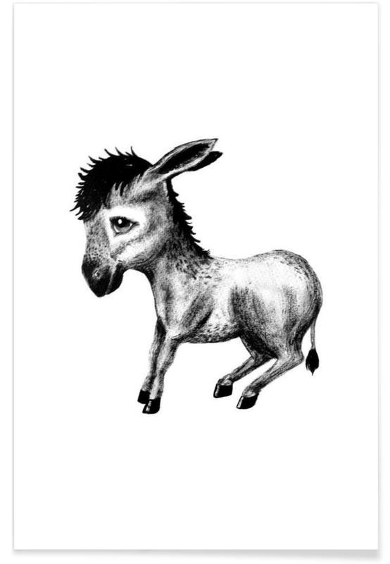 Noir & blanc, Art pour enfants, Illustration de bébé âne affiche