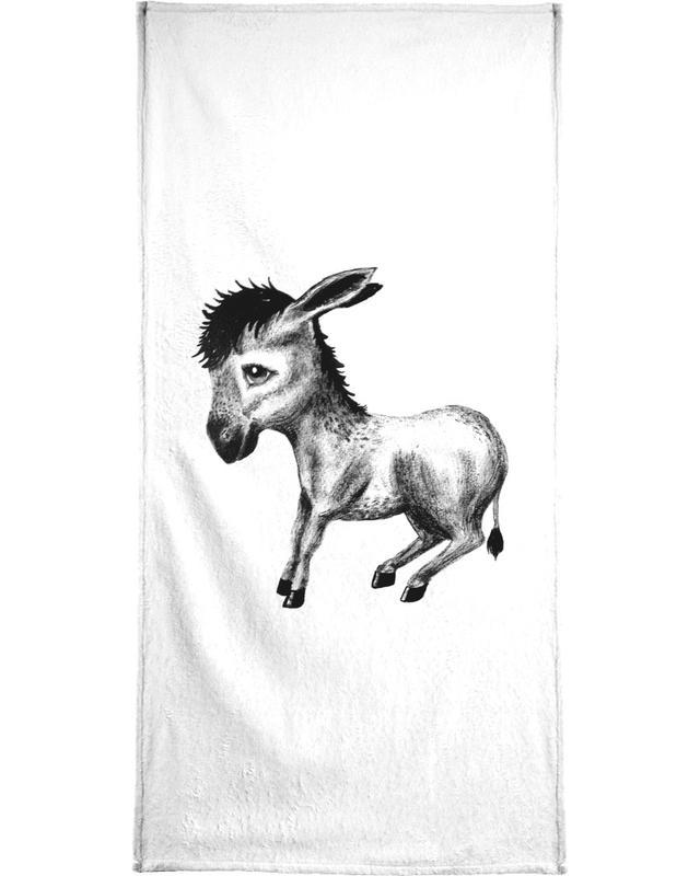 Noir & blanc, Art pour enfants, Donkey serviette de bain
