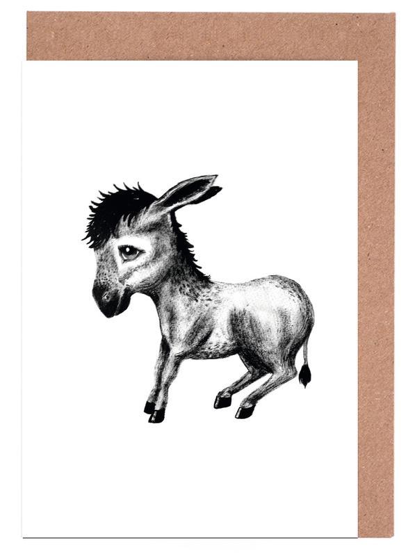 Noir & blanc, Art pour enfants, Donkey cartes de vœux