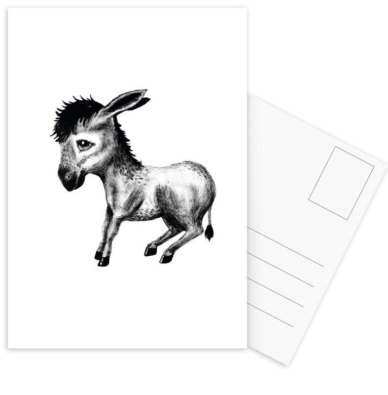 Noir & blanc, Art pour enfants, Donkey cartes postales