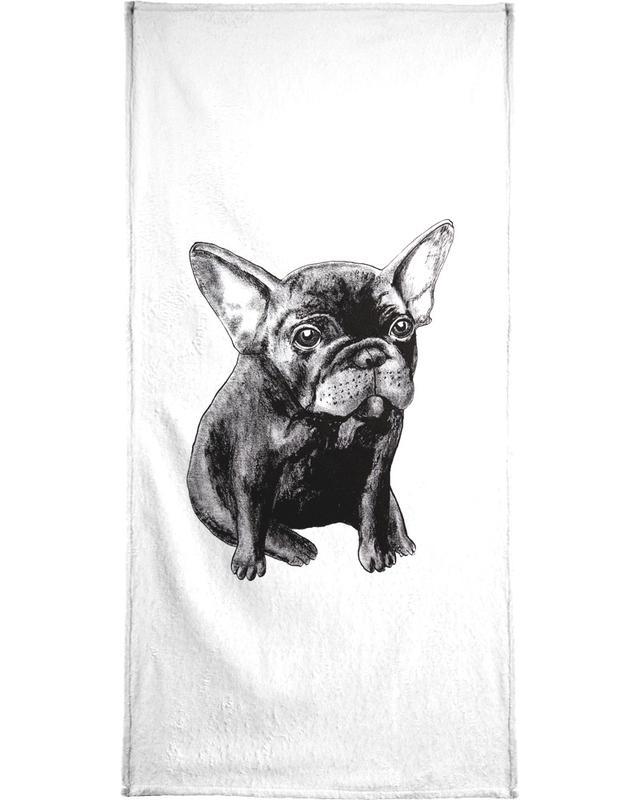 Chiens, Noir & blanc, French Bulldog serviette de bain