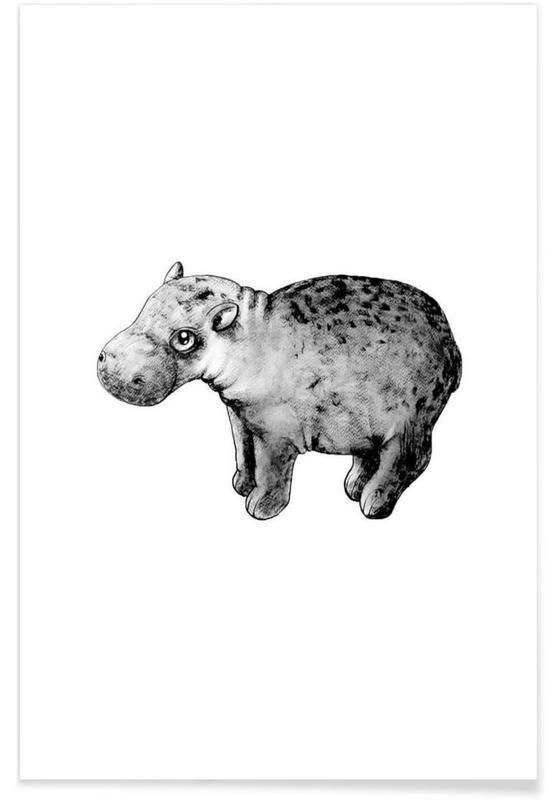 Art pour enfants, Noir & blanc, Hippopotames, Illustration de bébé hippopotame affiche